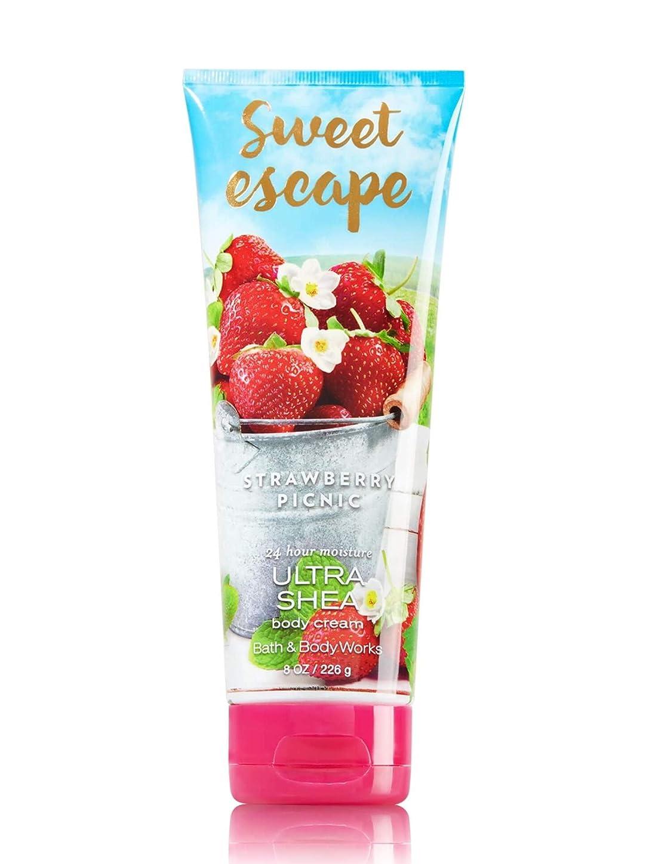 本体淡いスクリュー【Bath&Body Works/バス&ボディワークス】 ボディクリーム ストロベリーピクニック Body Cream Sweet Escape Strawberry Picnic 8 oz / 226 g [並行輸入品]