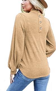 Womens Button Back Tops Ballon Sleeve Loose Casual Workout O Neck Blouses