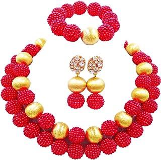 اكزوف نيجيري الزفاف الأفريقية الخرز الأحمر مجموعات مجوهرات للنساء مقلد اللؤلؤ قلادة والأقراط