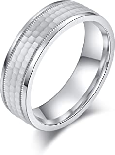 خاتم زفاف صلب للجنسين مقاس 6 مم أو 8 مم مقاس مريح من الفضة الإسترلينية بلمسة نهائية غير لامعة بتصميم خلية النحل