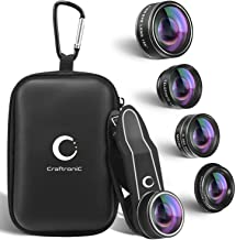 Mobile Lens Kit Pro - Craftronic Camera Set for iPhone, Samsung, Tablets - 2X Zoom Telephoto, 198° Fisheye, 0.36X Super Wide Angle, 15X Macro & Kaleidoscope Filter for Cell Phones (Upgraded)