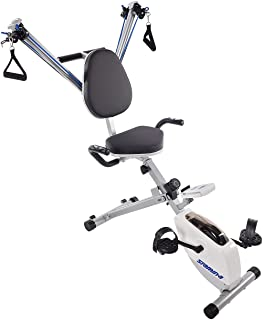 Stamina Exercise Bike and Strength System, White/Blue