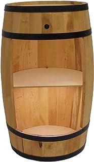 Tonneau En Bois Avec éclairage LED - Armoire Bar Meuble Rangement Bouteille Alcool - Casier à Vin,Whisky, Bière et Boisson...