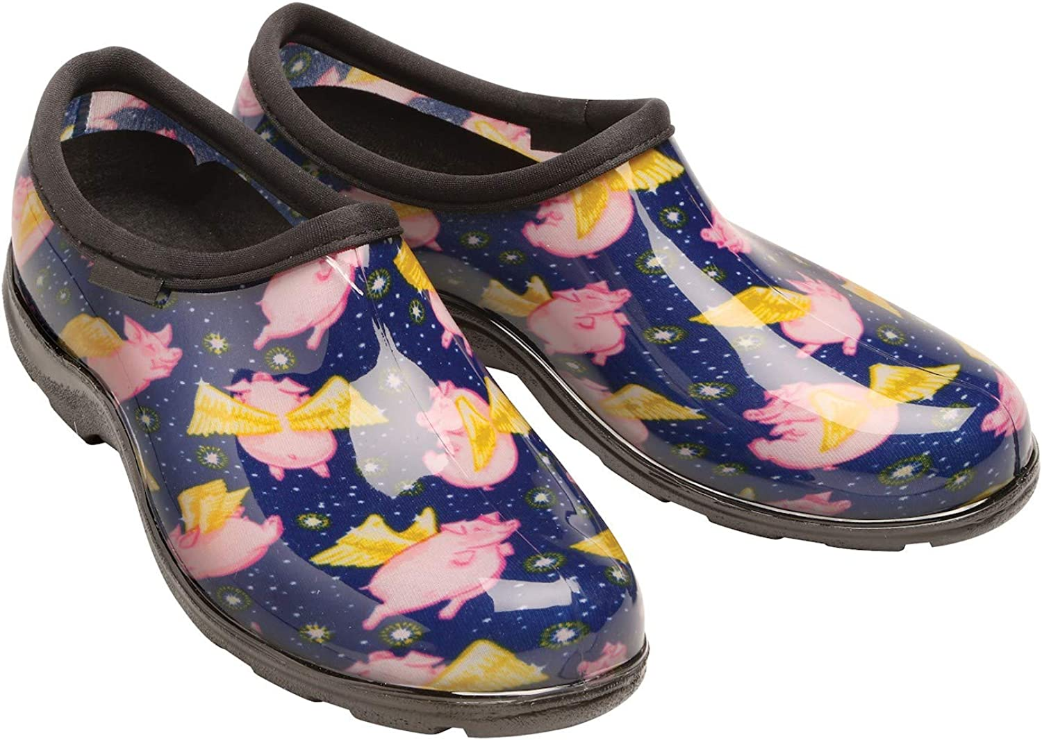 Sloggers Women's Waterproof Rain and Gardening Clog shoes - When Pigs Fly Print - 7