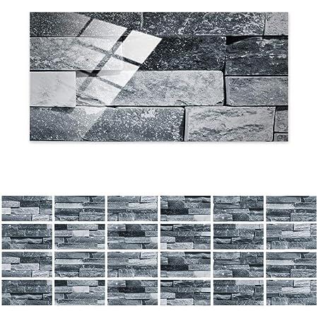 Tingz 24 Pièces Stickers Carrelage Auto-adhésif en PVC,Autocollant en Tuile Rectangulaire Imperméable,Les Tuiles Carreaux de Murs Décoration,Sticker Mural pour Salle de Bain Cuisine(20×10cm)