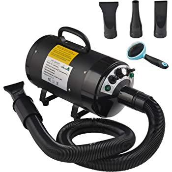 My Pet Command 110V Dog Hair Dryer Professional High Velocity Blower 500W-2800W 4HP Hot and Cold Adjustable stepless Airflow and Bonus Dog Grooming Brush.