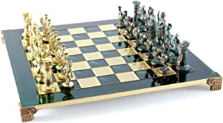 Manopoulos Greek Roman Army Large Chess Set - Brass&Green - Green Chess Board