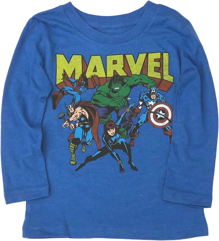 Jumping Beans Toddler Boys Long Blue Marvel Spider-Man Hulk Tee Shirt T-Shirt