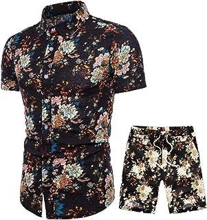 Camisa Hawaiana Hombre Collar Botón Slim Camiseta Estampados,Modernas Elegantes Mens Tops Estilo Africano de Hombre Camisas Fiesta + Bermudas M-3XL