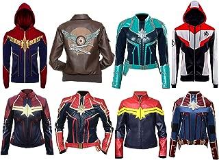 Aus Eshop Women's Captain Marvel Superhero Brie Larson Carol Danvers Cosplay Costume Hoodie Leather Jackets Collection