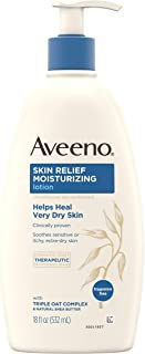 Aveeno Skin Relief Fragrance-Free Moisturizing Lotion for Sensitive Skin, with Natural Shea Butter & Triple Oat Complex, Unscented Therapeutic Body Lotion for Itchy, Extra-Dry Skin, 18 fl. oz