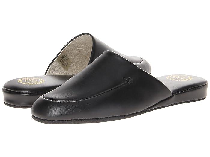 Mens Vintage Shoes, Boots | Retro Shoes & Boots L.B. Evans Duke Scuff Black Leather Mens Slippers $49.95 AT vintagedancer.com
