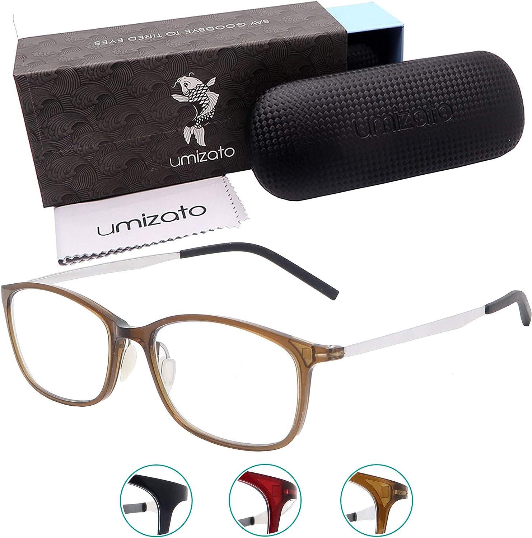 Umizato Super Lightweight Blue Light Blocking Glasses - Computer Gaming for Men Women - Minimalist Design, Anti-Glare UV Filter Blocker, Reduce Eye Strain, Migraine, Light Sensitivity (Orion in Cafe)
