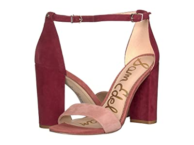 Sam Edelman Yaro Ankle Strap Sandal Heel (Cameo Pink/Cabernet Suede Leather) Women