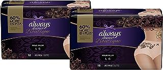 Always Discreet Boutique Incontinence & Postpartum Underwear for Women, Disposable, Maximum Protection, Large, Peach, 18 C...