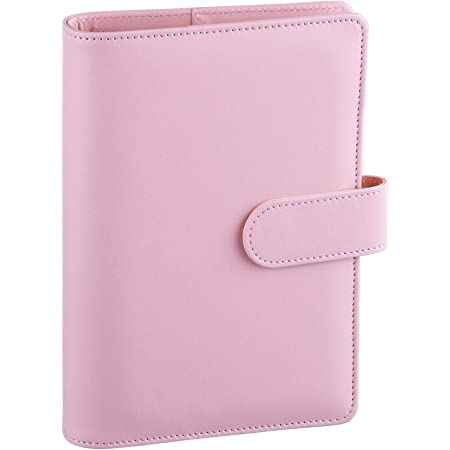 Skydue A6 Binder PU Leather 6 Ring Notebook Binder Cover for A6 Filler Paper,Loose Leaf Personal Organizer Planner Binder Cover with Magnetic Buckle Closure