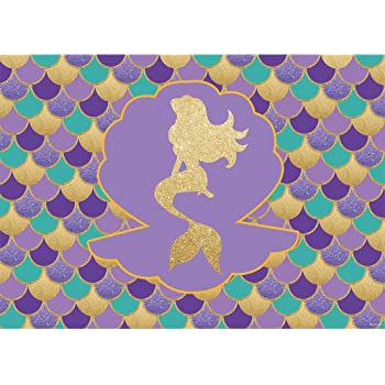 Allenjoy 7x5ft Little Mermaid Backdrop for Photography Pictures Pastle Scales Shell Bokeh Girls Birthday Party Gold Glitter Purple Pink Blue Newborn Princess Baby Shower Decoration Photo Booth Props