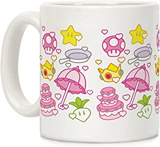 LookHUMAN Peach Inventory Items Pattern White 11 Ounce Ceramic Coffee Mug