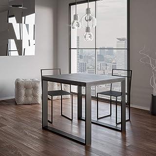 Itamoby, Table extensible Tecno Libre 120, panneaux de mélaminé, béton & anthracite, L.120 H.80 P.90 (ouvert L.240 H.78 P.90)