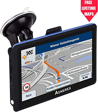 GPS Navigation AONEREX (5 inch/8GB) Vehicle GPS Navigation with System Lifetime Maps/Traffic, Navigation System Post Code, POI Search Speed Camera Alerts