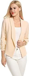 Women 3/4 Sleeve Blazer Open Front Cardigan Jacket Work Office Blazer