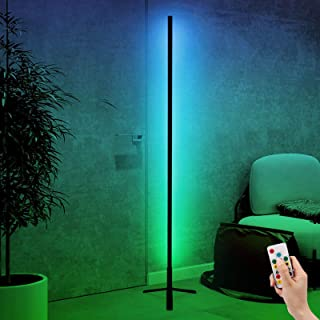 Lampadaire LED RGB Changement de Couleur Lampe sur Pied Trepied Mur Coin Colonne Lumineuse Dimmable Minimalisme Lumière Am...