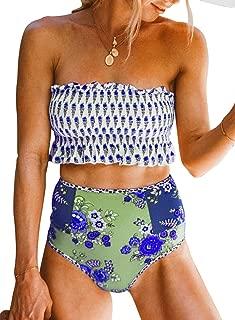 Women 2 Pieces Bikini Sets Bandeau Swimwear High Waist Swimsuit