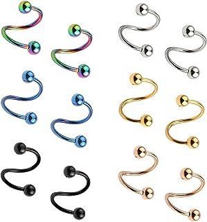 1,2mm Acciaio Chirurgico Torsione Orecchio Plug Orecchini Spirale Vite Helix Stud Anello Labbro Corpo Piercing Gioielli 10...