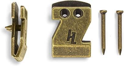 HangZ 40030 Flat Mount Sawtooth Picture Hooks, Narrow, 20lb, Antique Brass