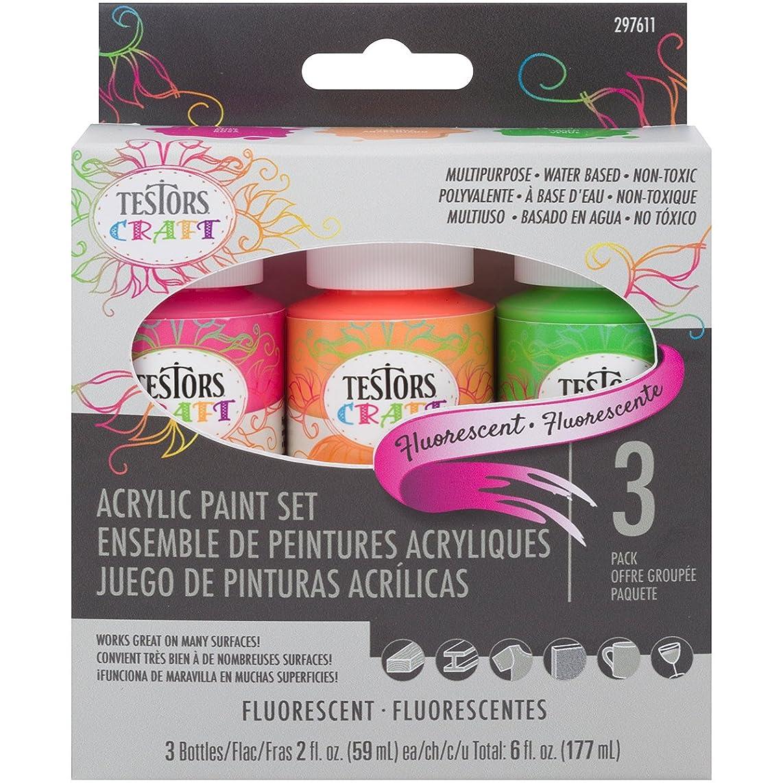 TESTOR 297611 3PK 2OZ Fluorescent Paint Set, Flourescent