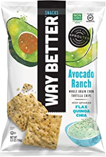Way Better Snacks Sprouted Gluten Free Tortilla Chips, Avocado Ranch, 12 Count