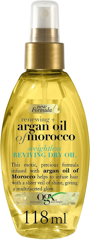 OGX Aceite Revitalizante de Argán de Marruecos, Aceite Seco en Spray, 118 ml