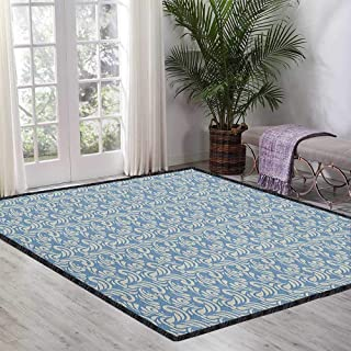 Geometric Super Soft Area Rug,Abstract Modern Art Inspired Swirls Curves Floral Pattern Pale Toned Image Environmental Protection Fabric Slate Blue Tan 55