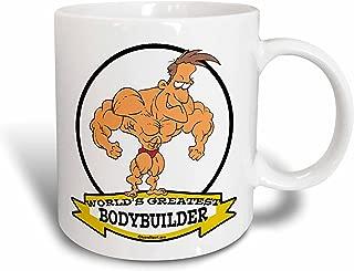 3dRose mug_102978_1 Funny Worlds Greatest Bodybuilder Men Cartoon Ceramic Mug, 11-Ounce