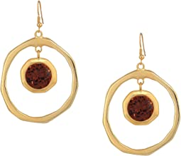 Large Satin Gold Hoop/Topaz Center Drop Fishhook Earrings