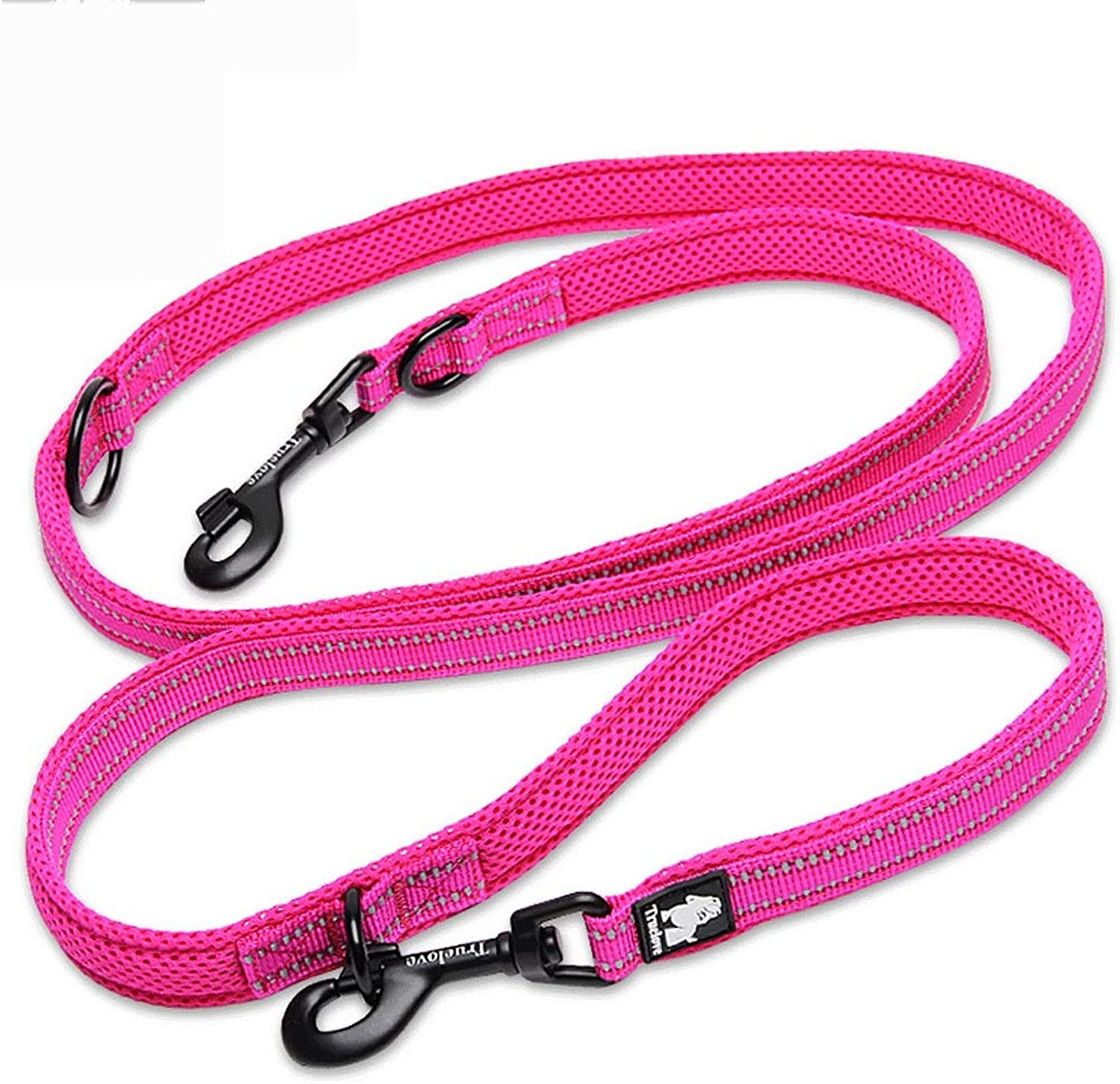 MultiFunction Dog Leash with 3M Reflective Design, Dog Chain Double Head Running (color   Pink, Size   2.5X2CM)