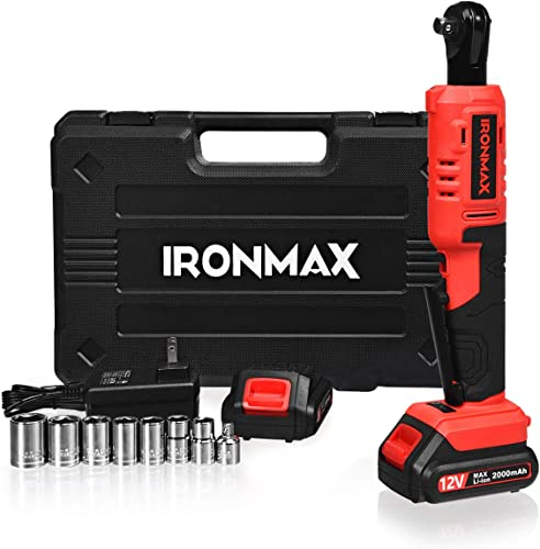 """discount Goplus Electric Cordless Ratchet popular Wrench Set, 12V 3/8'' 45 N·m Power Ratchet Wrench Tool Kit w/ LED Light, 2 Packs 2.0Ah Lithium-Ion Battery, Fast Charger, 7pcs Sockets and online sale 1/4"""" Socket Adapter online sale"""