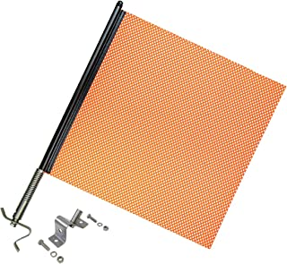 VULCAN Heavy Duty Spring Warning Flag Kit with Universal Mounting Bracket - 18 Inch - Mesh Construction