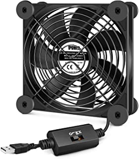 iPower Silent 120mm USB Fan with Speed Controller for Indoor Plant Stand Shelf Ventilation Circulate Air, 120 mm, Black
