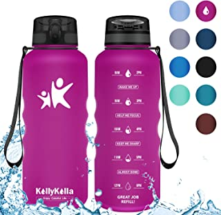 KollyKolla Botella Agua Sin BPA Deportes - 350ml/500ml/800ml/1L/1.5L, Reutilizables Ecológica Tritan, Bebidas Botellas con Filtro & Marcador de Tiempo, para Niños y Adultos, Tapa Abatible de 1 Clic