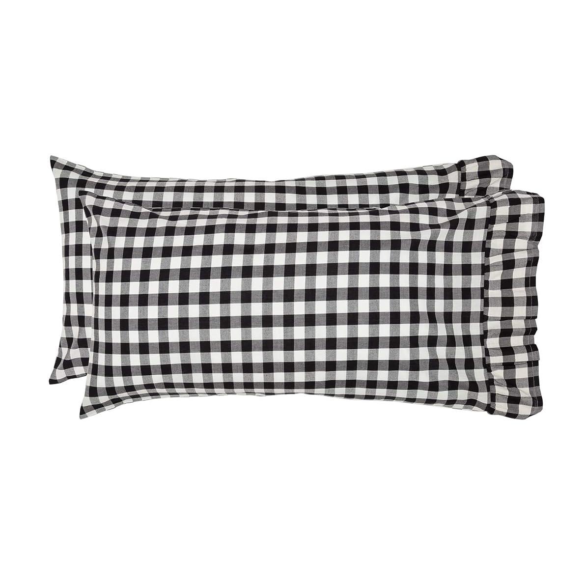 VHC Brands Farmhouse Bedding Annie Cotton Buffalo Check King Pillow Case Set of 2 Black Country
