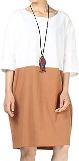 Women's Cotton Linen Dress Color Block Shift Dresses M-3XL