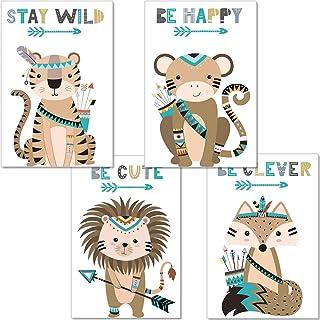 artpin® Jeu de 4 posters pour chambre de bébé/d'enfant - vert menthe affiche decoration chambre fille garçon fille DIN A4...