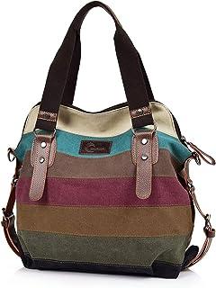 CHEREEKI Damen Multi-Color Streifen Handtasche, Canvas Schultertasche, Tote Große Kapazität Crossbody Tasche Hobo Umhänget...