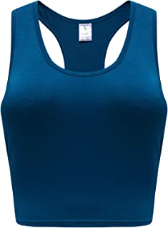 OThread & Co. Women's Basic Crop Tops Stretchy Casual Scoop Neck Racerback Sports Crop Tank Top