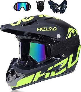 LALAGOU Motocross-Helm, Trageset, Motocross-Helm für Kinder, Integralhelm, für BMX MTB Quad Enduro ATV Scooter, mit Brillen, Handschuhen, Masken S 52 – 53 cm