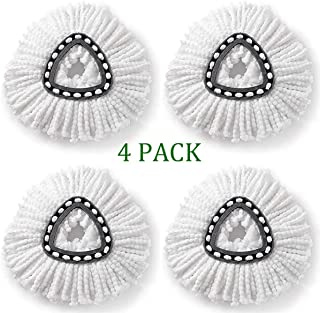 Jessie Saxton Spin Mop Refill for O-Cedar EasyWring, Microfiber Mop Replacement Heads(Pack of 4)