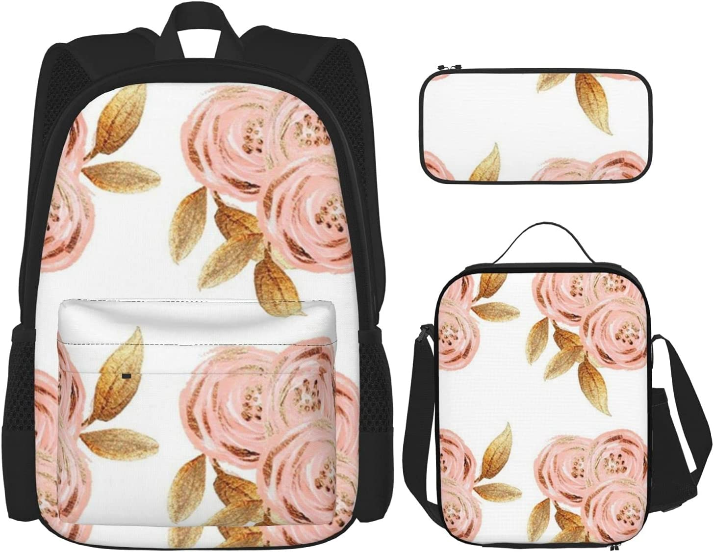 Glitz Gold Flower New life School Bags Lunch Combina Case Our shop OFFers the best service 3pcs Pencil Box