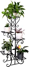 Tall Metal Plant Stand Indoor 5 Tier Wrought Iron Plant Shelf Rack Outdoor Garden Flower Pots Display Holder, Black