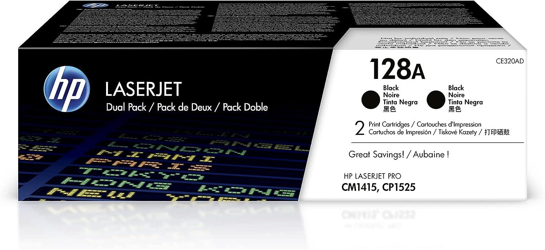 HP 128A | CE320AD | 2 Toner-Cartridges | Black | Works with HP LaserJet Pro CM1415, CP1525